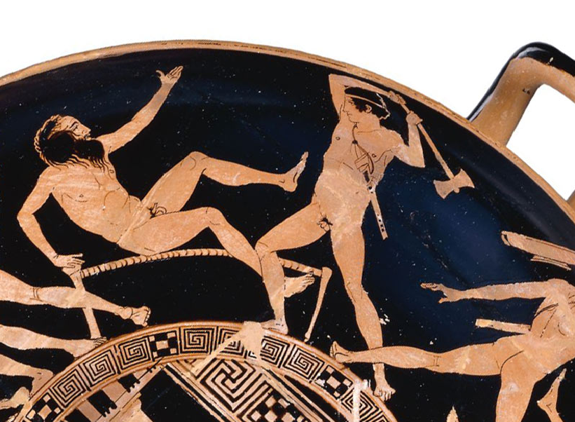 Procrustes on Greek pottery