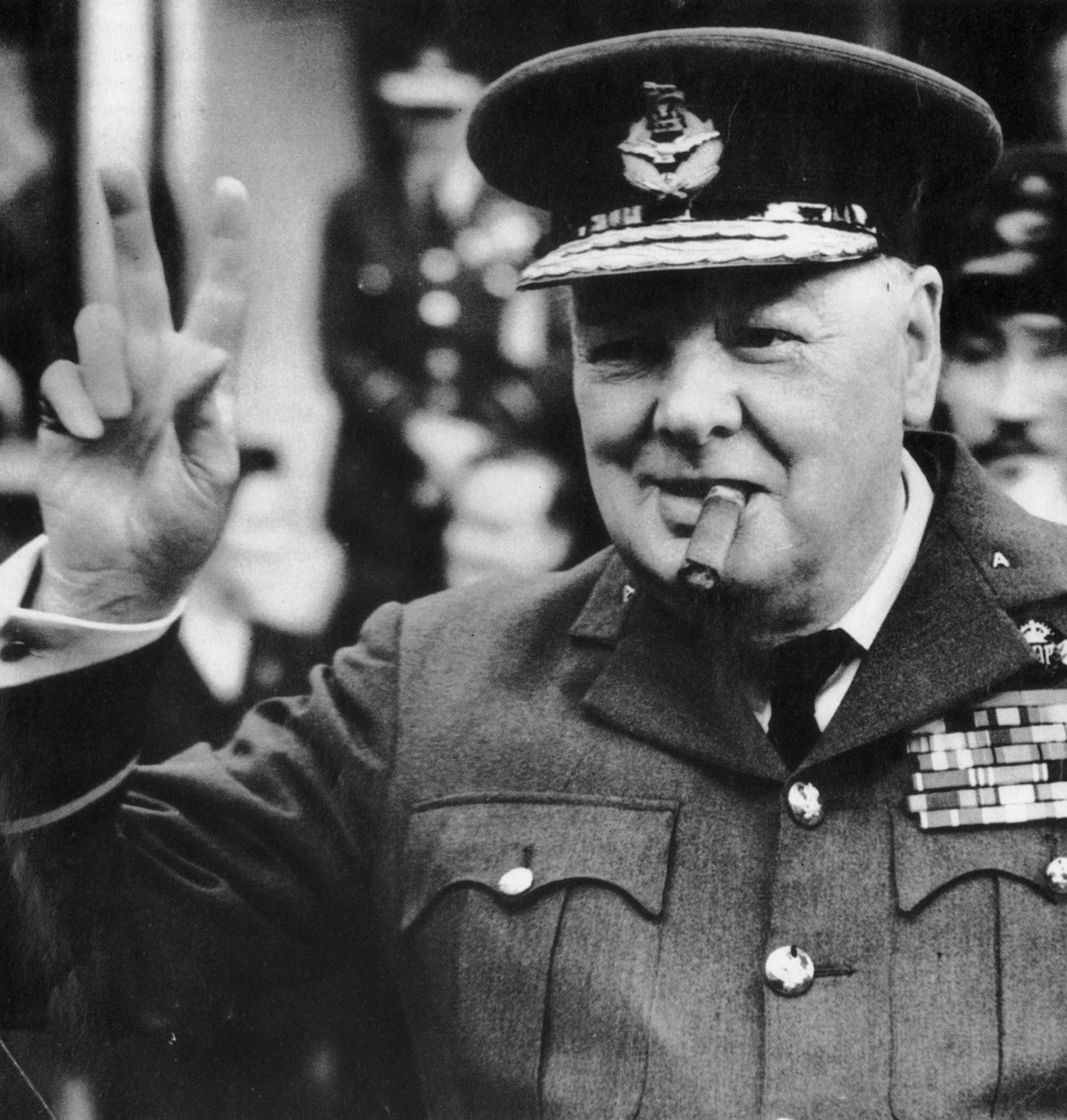 Winston Churchill in Military Garb Shows V-for-Victory Salute